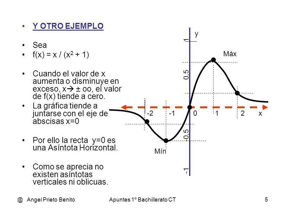 @ Angel Prieto BenitoApuntes 1º Bachillerato CT5 Y OTRO EJEMPLO Sea f(x) = x / (x 2 + 1) Cuando el valor de x aumenta o disminuye en exceso, x ± oo, el valor de f(x) tiende a cero.
