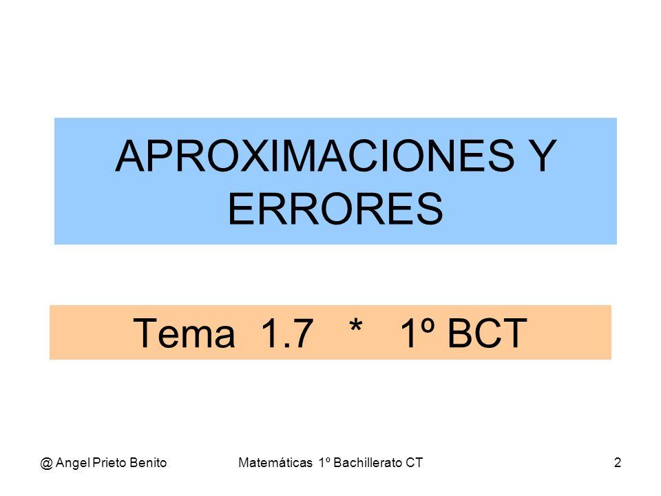 @ Angel Prieto BenitoMatemáticas 1º Bachillerato CT3 EJEMPLO Sea el número 3 = 1,73205 1.-Aproximaciones por defecto: 11,71,731,7321,7320 2.-Aproximaciones por exceso: 21,81,741,7331,7321 3.-Aproximaciones por redondeo: 21,71,731,7321,7321 Se elige la aproximación por defecto si la primera cifra suprimida es menor que 5, y la aproximación por exceso si la primera cifra suprimida es mayor o igual que 5 APROXIMACIONES