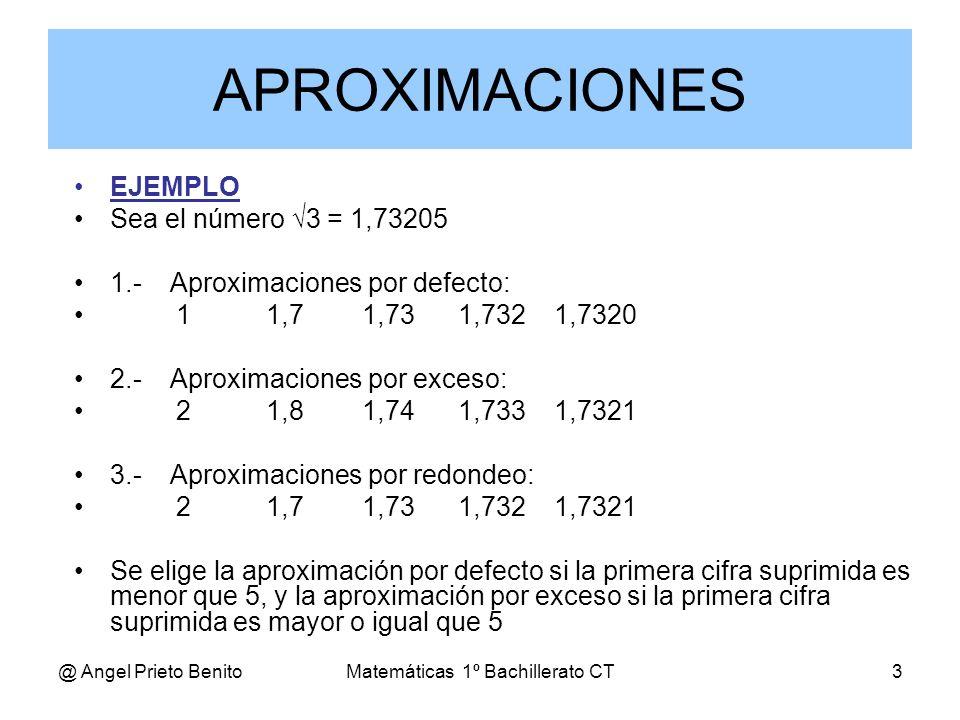 @ Angel Prieto BenitoMatemáticas 1º Bachillerato CT3 EJEMPLO Sea el número 3 = 1,73205 1.-Aproximaciones por defecto: 11,71,731,7321,7320 2.-Aproximac