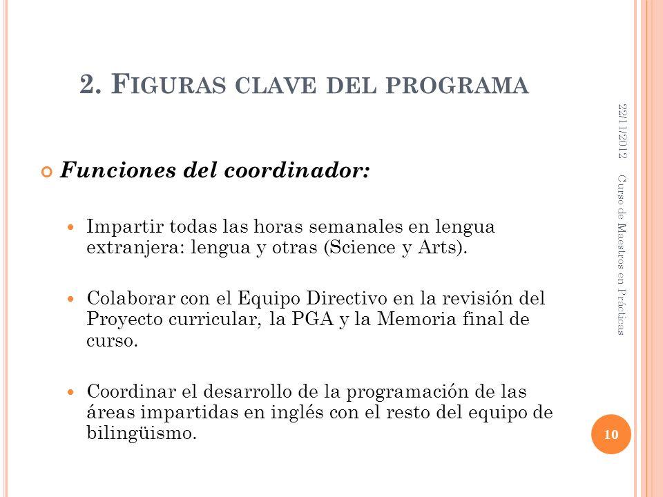 2. F IGURAS CLAVE DEL PROGRAMA Funciones del coordinador: Impartir todas las horas semanales en lengua extranjera: lengua y otras (Science y Arts). Co