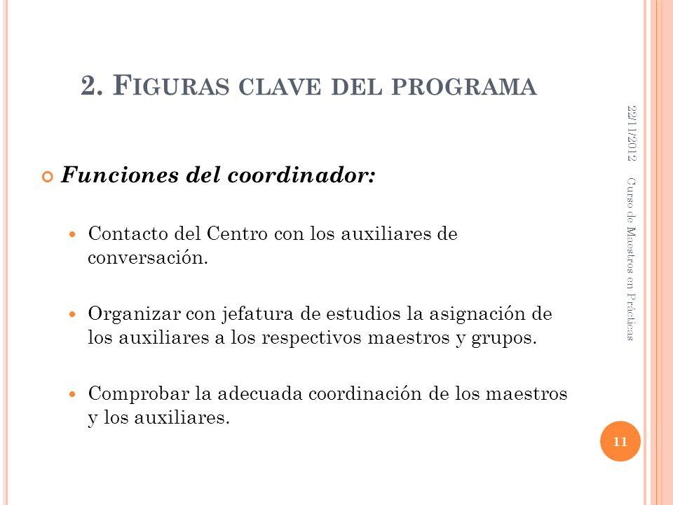 2. F IGURAS CLAVE DEL PROGRAMA Funciones del coordinador: Contacto del Centro con los auxiliares de conversación. Organizar con jefatura de estudios l