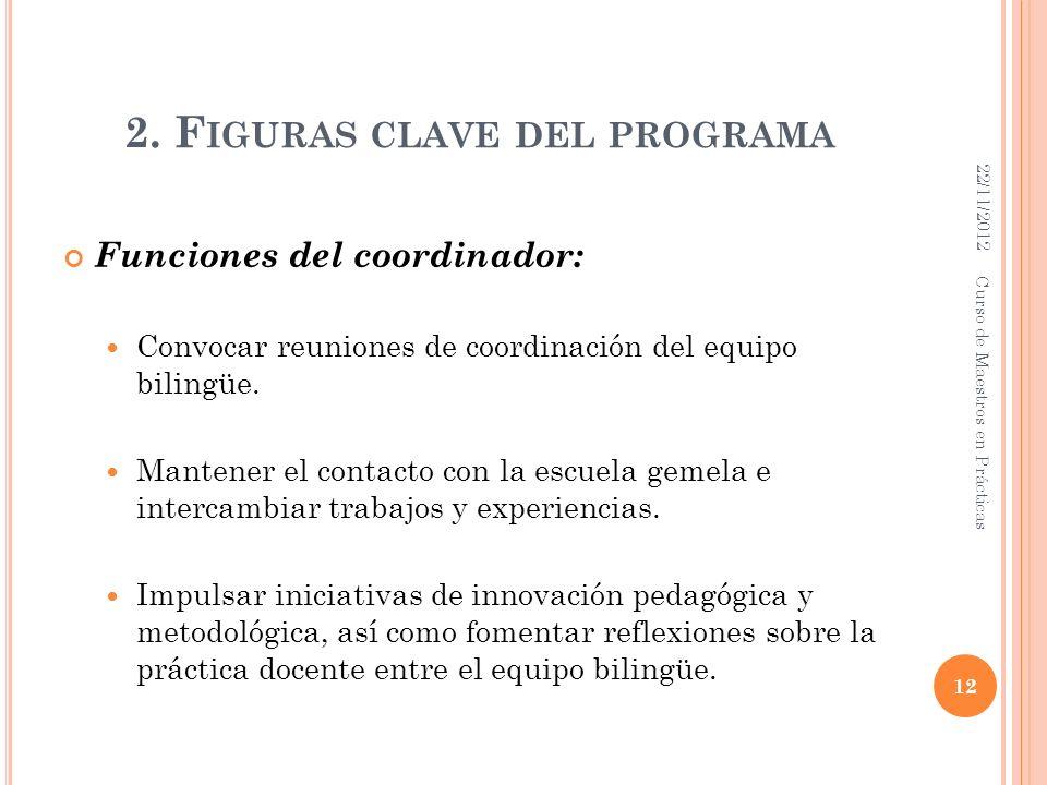 2. F IGURAS CLAVE DEL PROGRAMA Funciones del coordinador: Convocar reuniones de coordinación del equipo bilingüe. Mantener el contacto con la escuela