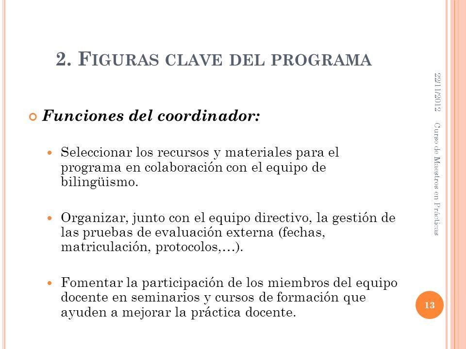 2. F IGURAS CLAVE DEL PROGRAMA Funciones del coordinador: Seleccionar los recursos y materiales para el programa en colaboración con el equipo de bili