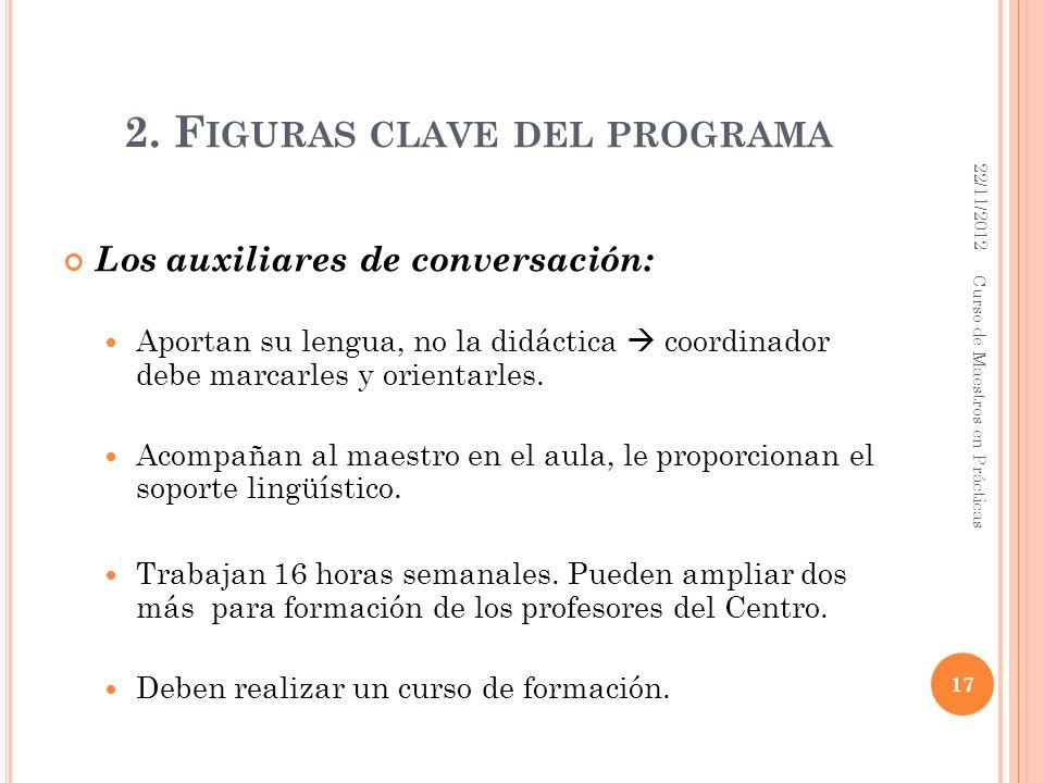 2. F IGURAS CLAVE DEL PROGRAMA Los auxiliares de conversación: Aportan su lengua, no la didáctica coordinador debe marcarles y orientarles. Acompañan