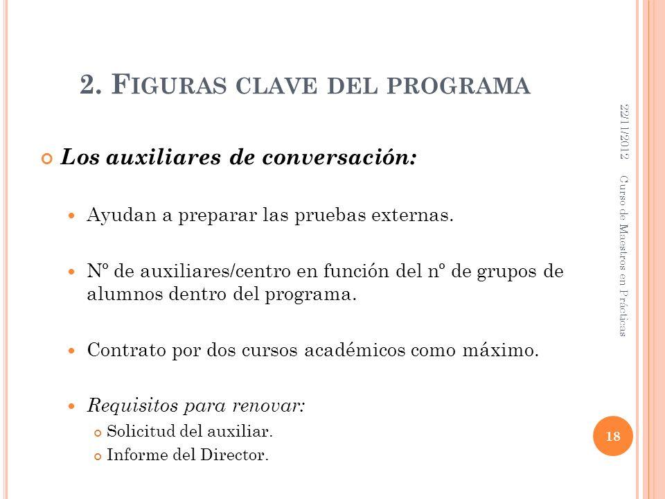 2. F IGURAS CLAVE DEL PROGRAMA Los auxiliares de conversación: Ayudan a preparar las pruebas externas. Nº de auxiliares/centro en función del nº de gr