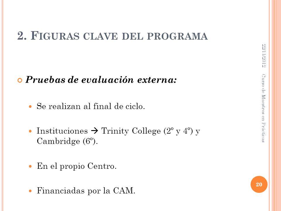 2. F IGURAS CLAVE DEL PROGRAMA Pruebas de evaluación externa: Se realizan al final de ciclo. Instituciones Trinity College (2º y 4º) y Cambridge (6º).