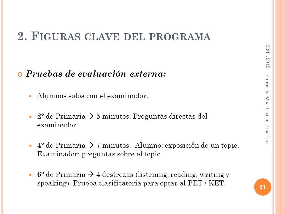 2. F IGURAS CLAVE DEL PROGRAMA Pruebas de evaluación externa: Alumnos solos con el examinador. 2º de Primaria 5 minutos. Preguntas directas del examin