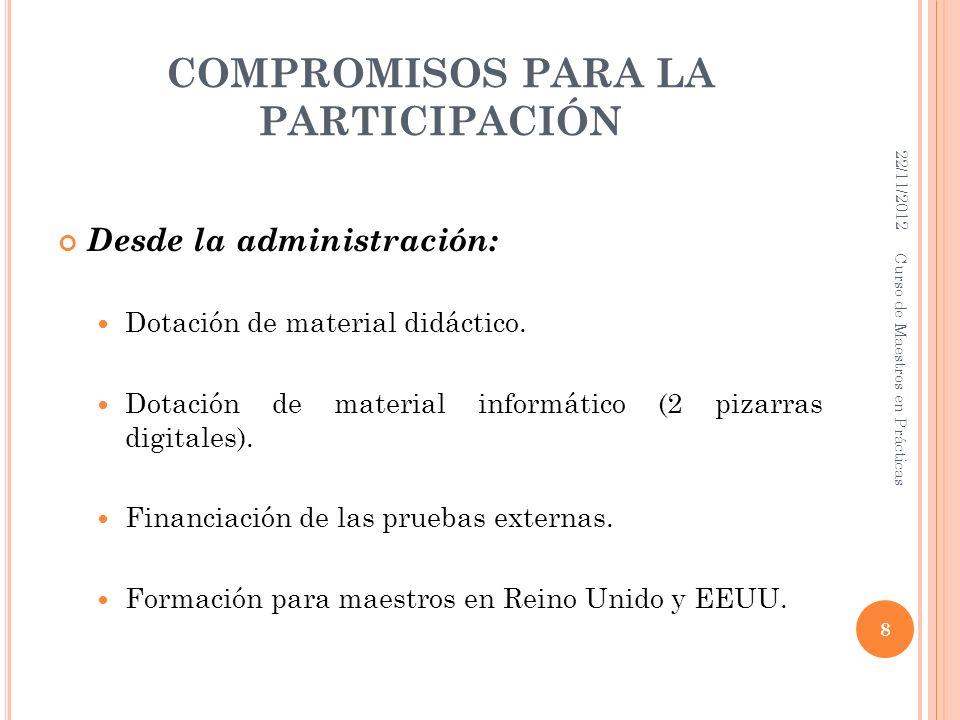 COMPROMISOS PARA LA PARTICIPACIÓN Desde la administración: Dotación de material didáctico. Dotación de material informático (2 pizarras digitales). Fi