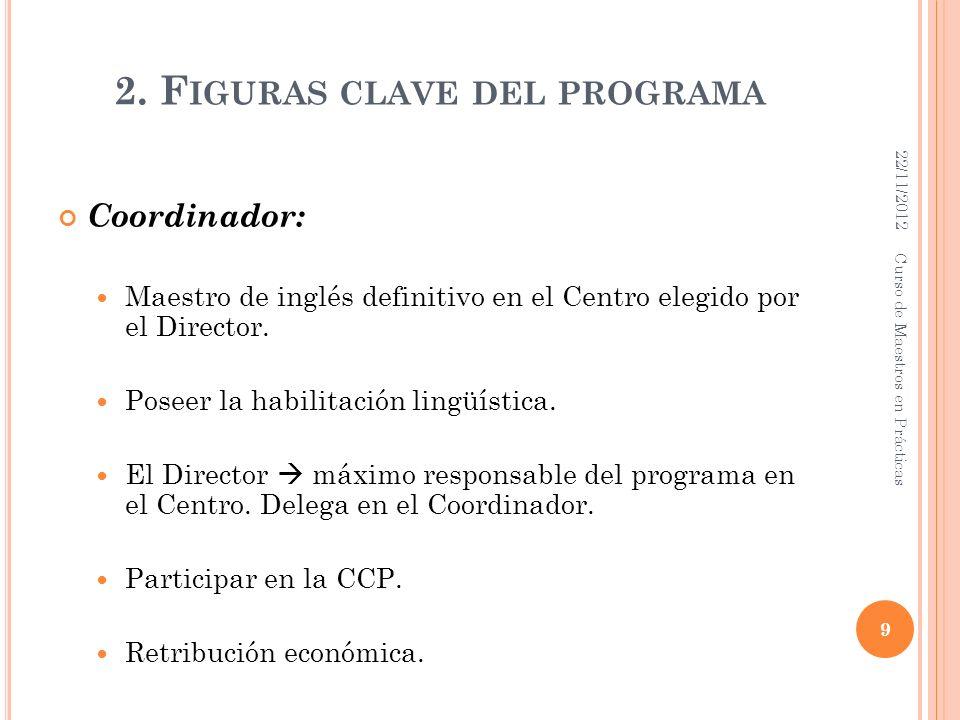 2. F IGURAS CLAVE DEL PROGRAMA Coordinador: Maestro de inglés definitivo en el Centro elegido por el Director. Poseer la habilitación lingüística. El