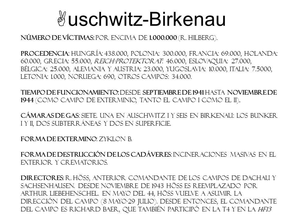 uschwitz-Birkenau Número de víctimas: Por encima de 1.000.000 (R. Hilberg). Procedencia: Hungría: 438.000, Polonia: 300.000, Francia: 69.000, Holanda: