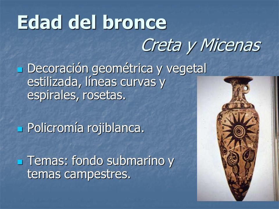 Edad del bronce Creta y Micenas Decoración geométrica y vegetal estilizada, líneas curvas y espirales, rosetas. Decoración geométrica y vegetal estili