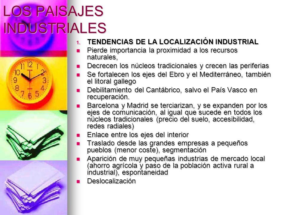LOS PAISAJES INDUSTRIALES 1. TENDENCIAS DE LA LOCALIZACIÓN INDUSTRIAL Pierde importancia la proximidad a los recursos naturales, Pierde importancia la