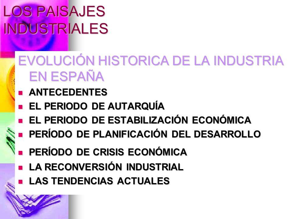 LOS PAISAJES INDUSTRIALES EVOLUCIÓN HISTORICA DE LA INDUSTRIA EN ESPAÑA ANTECEDENTES ANTECEDENTES EL PERIODO DE AUTARQUÍA EL PERIODO DE AUTARQUÍA EL P