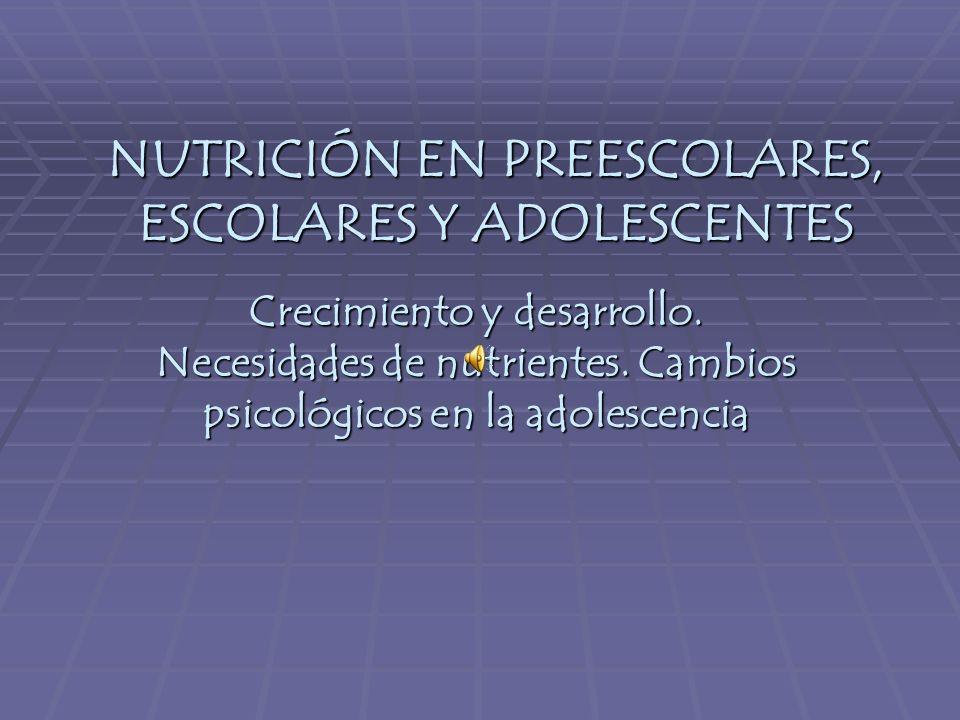 NUTRICIÓN EN PREESCOLARES, ESCOLARES Y ADOLESCENTES Crecimiento y desarrollo.