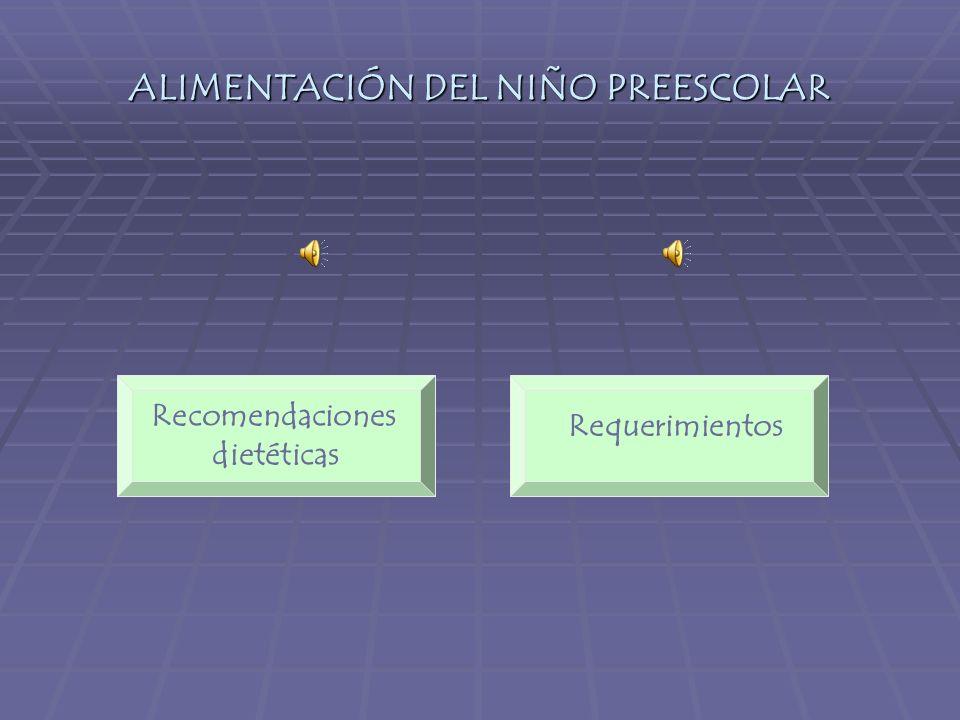ALIMENTACIÓN DEL NIÑO PREESCOLAR Requerimientos Recomendaciones dietéticas
