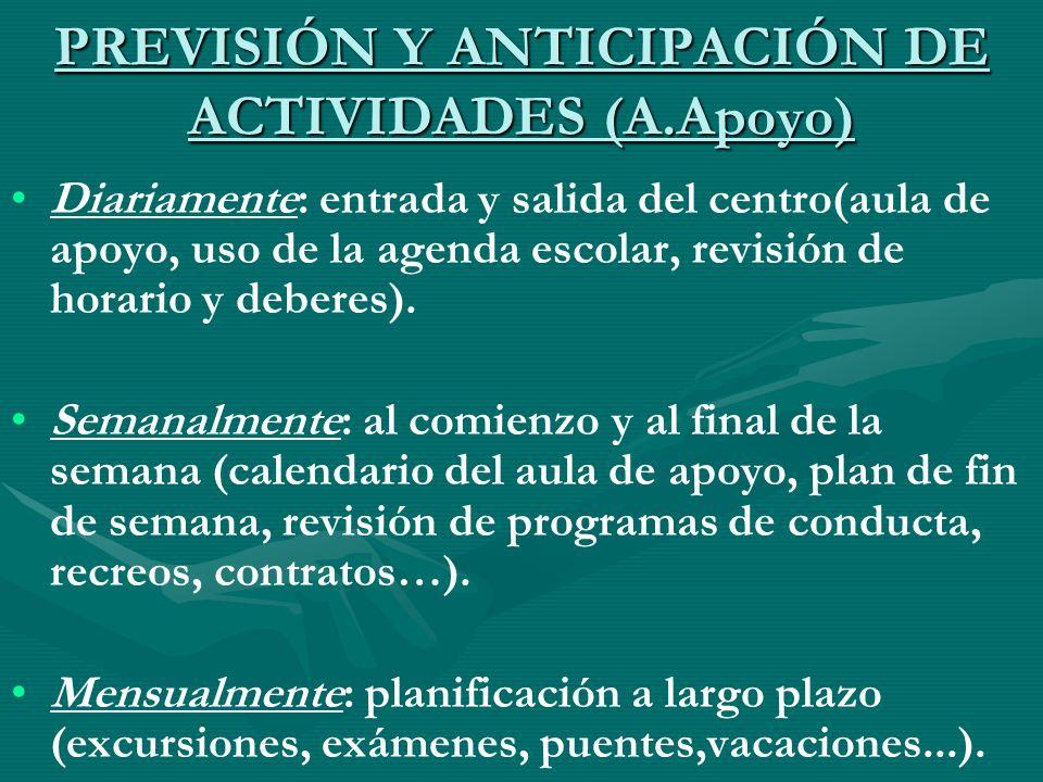 PREVISIÓN Y ANTICIPACIÓN DE ACTIVIDADES (A.Apoyo) Diariamente: entrada y salida del centro(aula de apoyo, uso de la agenda escolar, revisión de horari