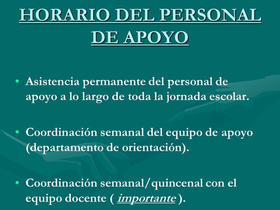 HORARIO DEL PERSONAL DE APOYO Asistencia permanente del personal de apoyo a lo largo de toda la jornada escolar. Coordinación semanal del equipo de ap