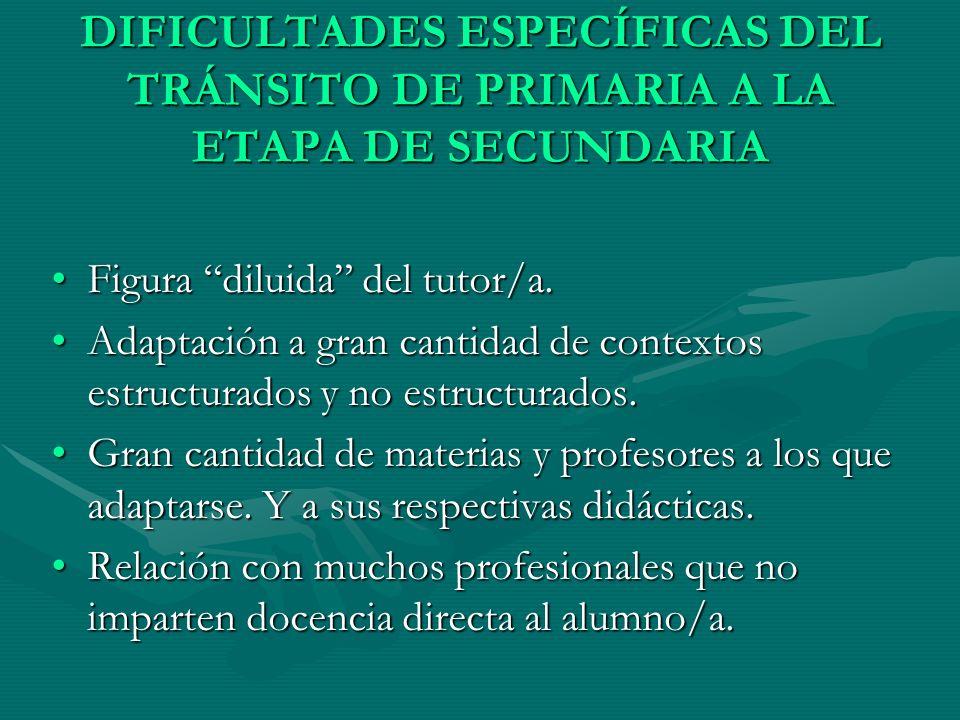 DIFICULTADES ESPECÍFICAS DEL TRÁNSITO DE PRIMARIA A LA ETAPA DE SECUNDARIA Figura diluida del tutor/a.Figura diluida del tutor/a. Adaptación a gran ca
