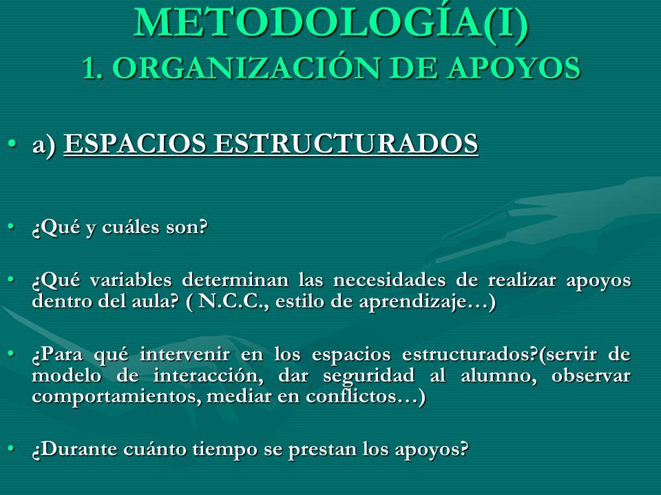 METODOLOGÍA(I) 1. ORGANIZACIÓN DE APOYOS a) ESPACIOS ESTRUCTURADOSa) ESPACIOS ESTRUCTURADOS ¿Qué y cuáles son?¿Qué y cuáles son? ¿Qué variables determ