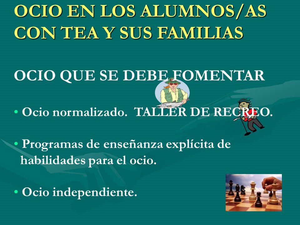 OCIO EN LOS ALUMNOS/AS CON TEA Y SUS FAMILIAS OCIO QUE SE DEBE FOMENTAR Ocio normalizado. TALLER DE RECREO. Programas de enseñanza explícita de habili