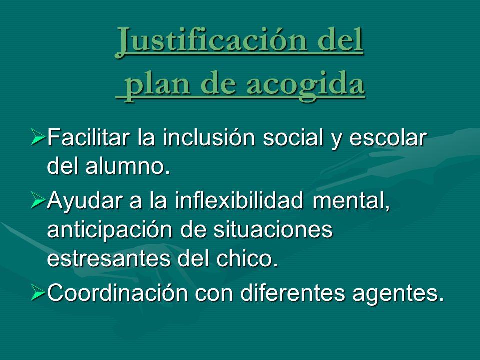 Justificación del plan de acogida Facilitar la inclusión social y escolar del alumno. Facilitar la inclusión social y escolar del alumno. Ayudar a la