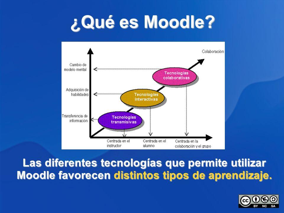 ¿Qué es Moodle? Las diferentes tecnologías que permite utilizar Moodle favorecen distintos tipos de aprendizaje.