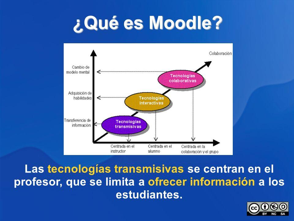 ¿Qué es Moodle? Las tecnologías transmisivas se centran en el profesor, que se limita a ofrecer información a los estudiantes.