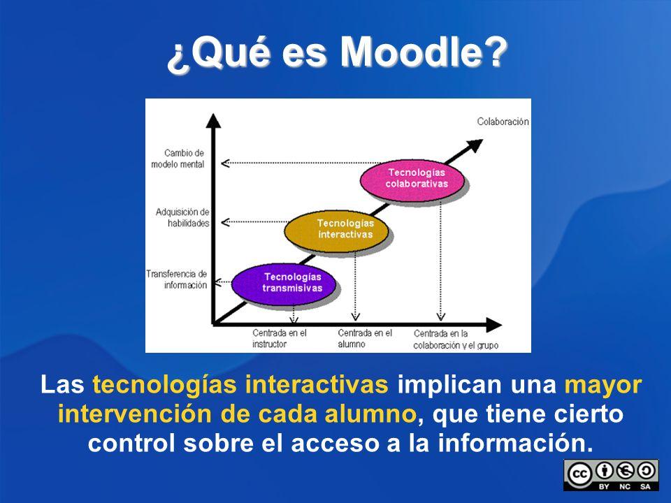 ¿Qué es Moodle? Las tecnologías interactivas implican una mayor intervención de cada alumno, que tiene cierto control sobre el acceso a la información