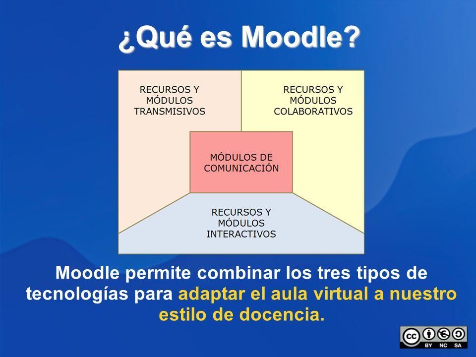 ¿Qué es Moodle? Moodle permite combinar los tres tipos de tecnologías para adaptar el aula virtual a nuestro estilo de docencia.
