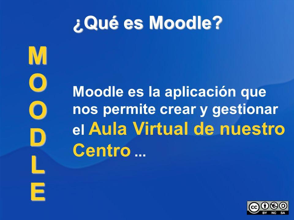 ¿Qué es Moodle? Moodle es la aplicación que nos permite crear y gestionar el Aula Virtual de nuestro Centro... MOODLE