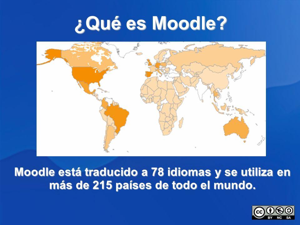 ¿Qué es Moodle? Moodle está traducido a 78 idiomas y se utiliza en más de 215 países de todo el mundo.