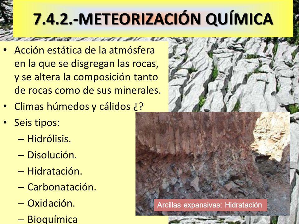 7.4.2.-METEORIZACIÓN QUÍMICA Acción estática de la atmósfera en la que se disgregan las rocas, y se altera la composición tanto de rocas como de sus m
