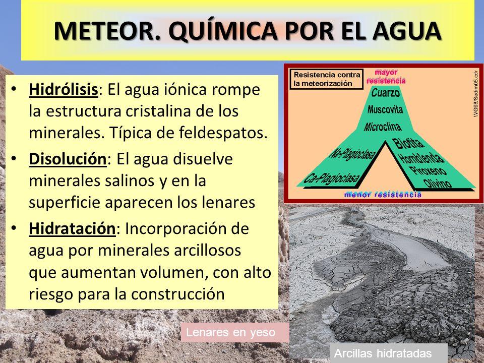 Lenares en yeso METEOR. QUÍMICA POR EL AGUA Hidrólisis: El agua iónica rompe la estructura cristalina de los minerales. Típica de feldespatos. Disoluc