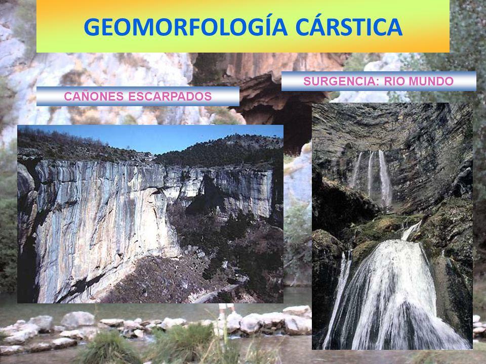 GEOMORFOLOGÍA CÁRSTICA CAÑONES ESCARPADOS SURGENCIA: RIO MUNDO