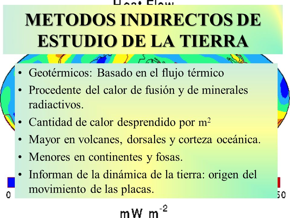 METODOS INDIRECTOS DE ESTUDIO DE LA TIERRA Geotérmicos: Basado en el flujo térmico Procedente del calor de fusión y de minerales radiactivos. Cantidad
