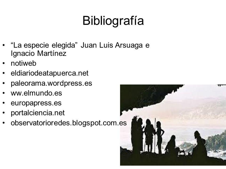 Bibliografía La especie elegida Juan Luis Arsuaga e Ignacio Martínez notiweb eldiariodeatapuerca.net paleorama.wordpress.es ww.elmundo.es europapress.