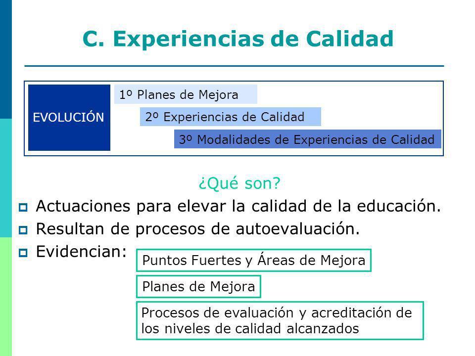 11 C. Experiencias de Calidad ¿Qué son. Actuaciones para elevar la calidad de la educación.