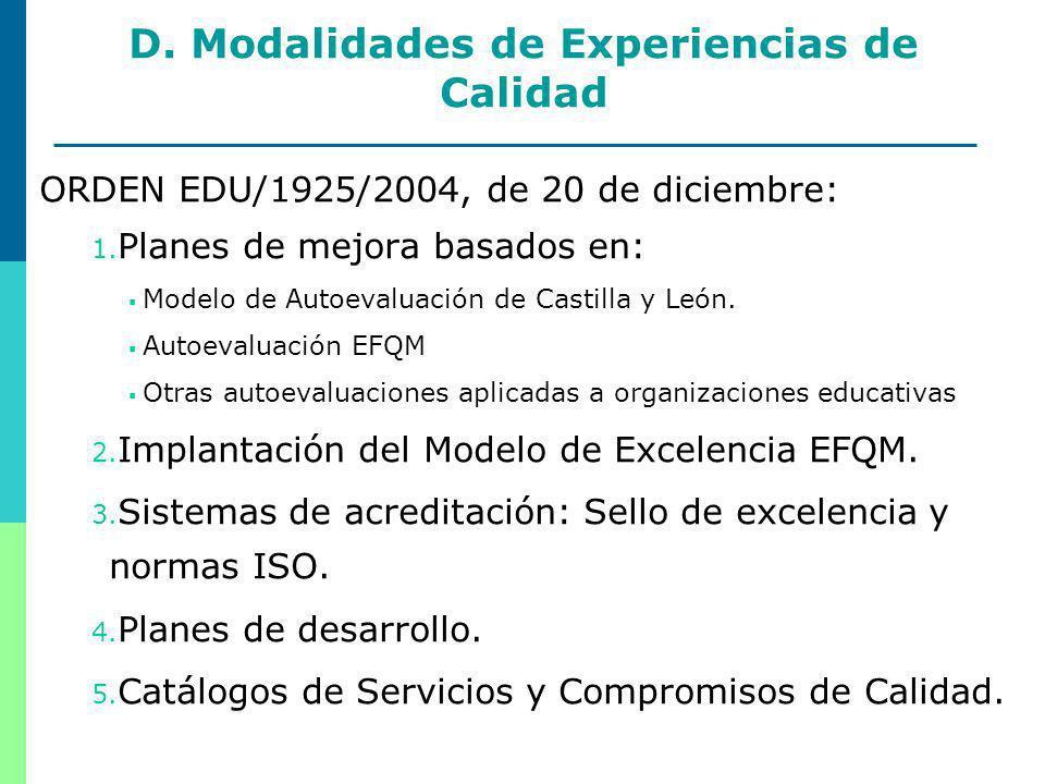 14 D. Modalidades de Experiencias de Calidad ORDEN EDU/1925/2004, de 20 de diciembre: 1.