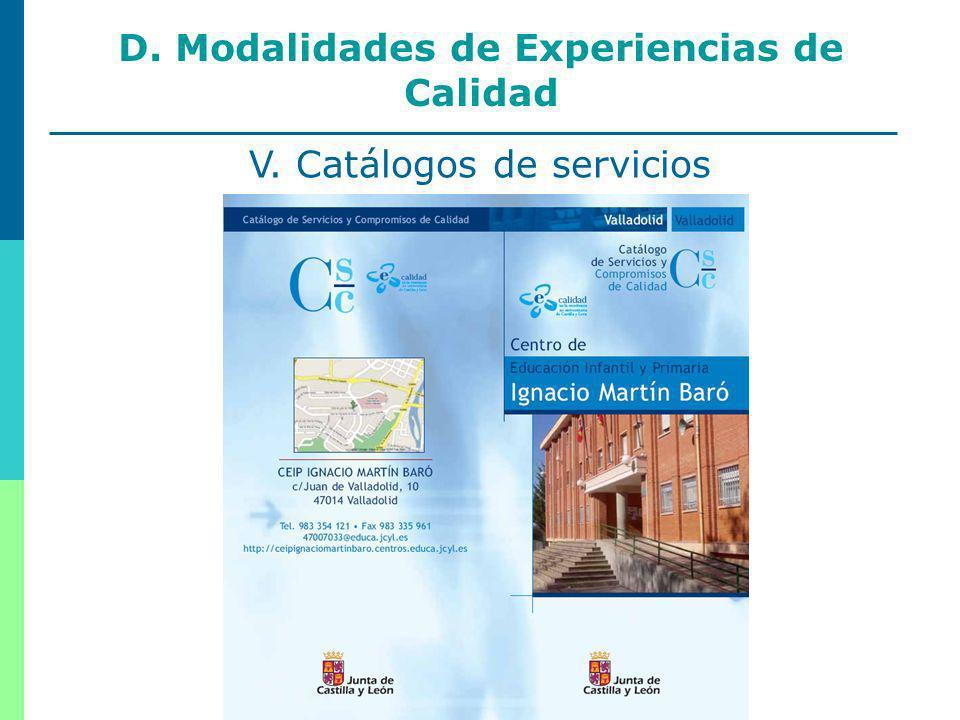 20 D. Modalidades de Experiencias de Calidad V. Catálogos de servicios
