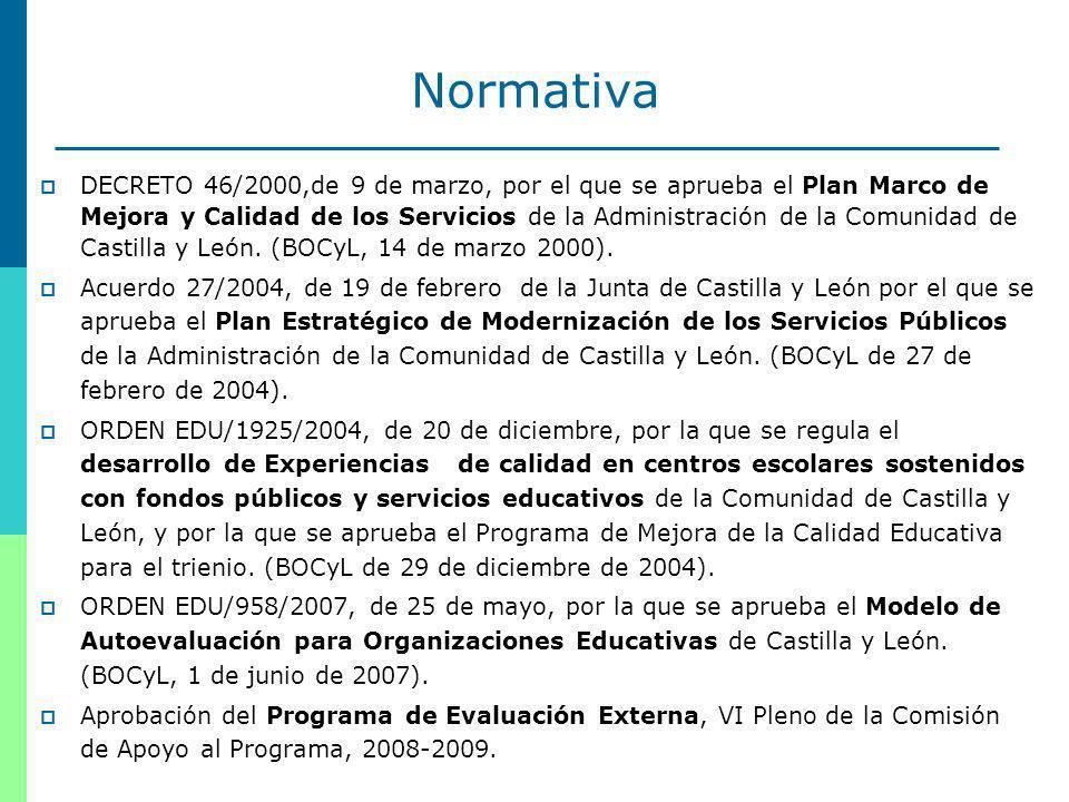 7 Normativa DECRETO 46/2000,de 9 de marzo, por el que se aprueba el Plan Marco de Mejora y Calidad de los Servicios de la Administración de la Comunidad de Castilla y León.