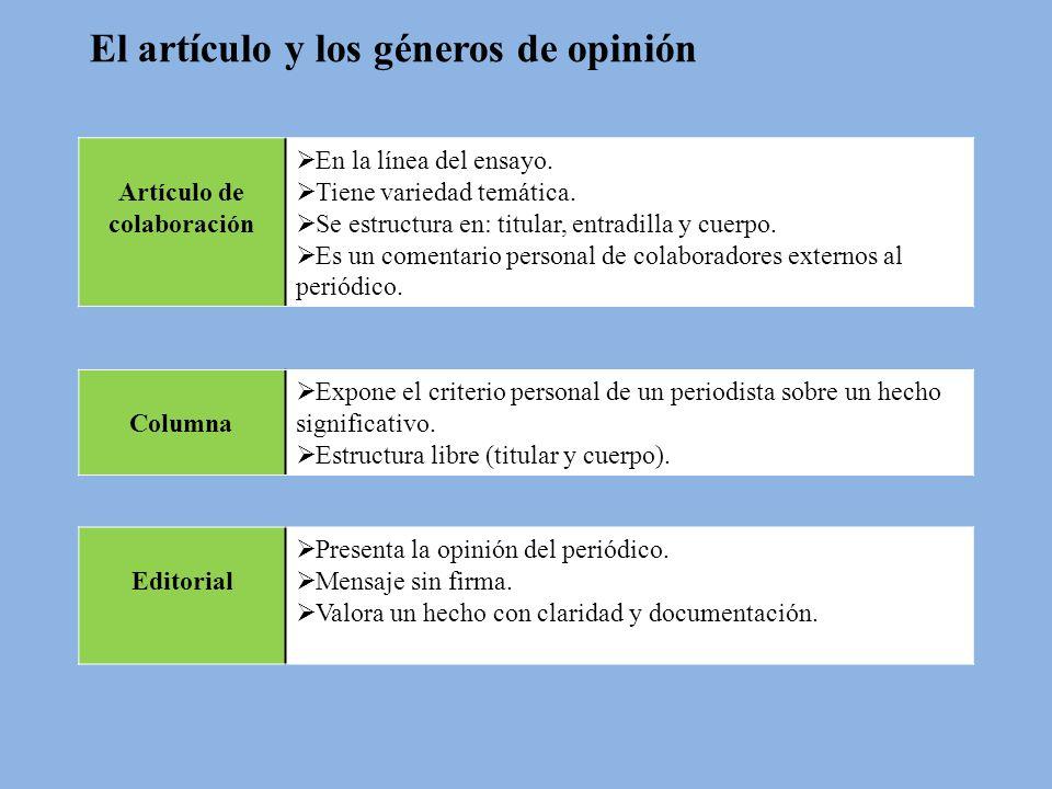 El artículo y los géneros de opinión Artículo de colaboración En la línea del ensayo. Tiene variedad temática. Se estructura en: titular, entradilla y