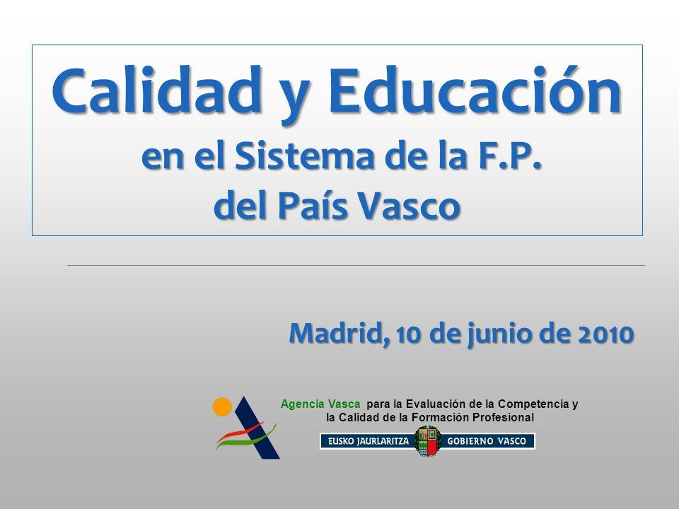 Calidad y Educación 10 de Junio de 2010 – MADRID Calidad y Educación 10 de Junio de 2010 – MADRID Agencia Vasca para la Evaluación de la Competencia y la Calidad de la Formación Profesional Proveedor de la competencia (experto externo) CENTRO 1 CENTRO 2 CENTRO 3 CENTRO 4 CENTRO n RED PILOTO DE PARTIDA