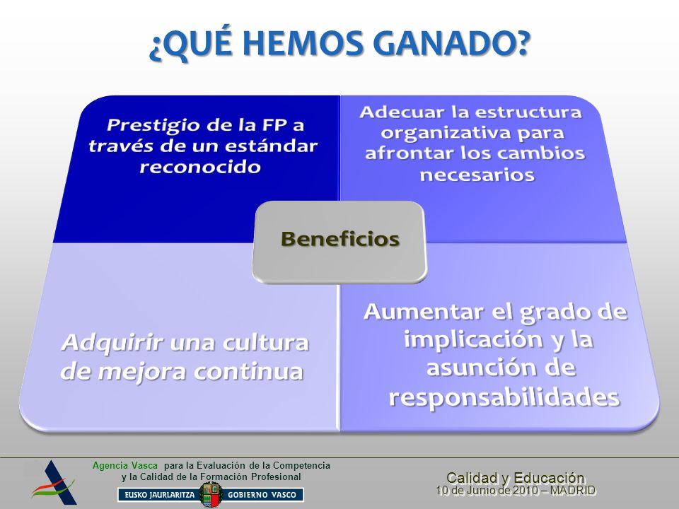 Calidad y Educación 10 de Junio de 2010 – MADRID Calidad y Educación 10 de Junio de 2010 – MADRID Agencia Vasca para la Evaluación de la Competencia y