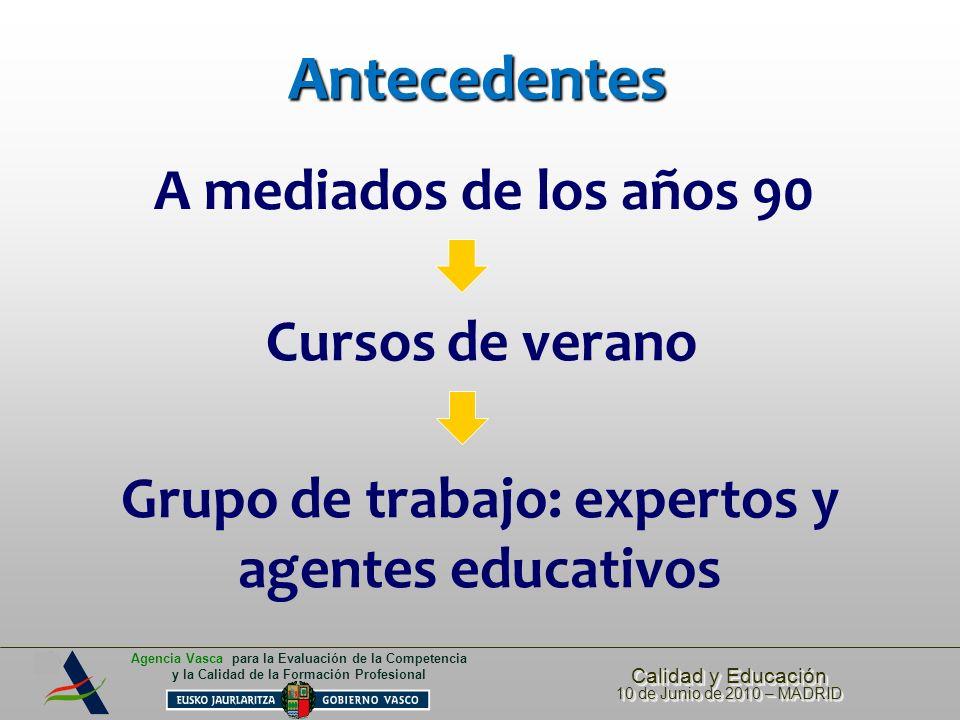 Calidad y Educación 10 de Junio de 2010 – MADRID Calidad y Educación 10 de Junio de 2010 – MADRID Agencia Vasca para la Evaluación de la Competencia y la Calidad de la Formación Profesional