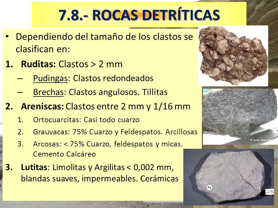Areniscas y lutitas gris oscuras 7.8.- ROCAS DETRÍTICAS Dependiendo del tamaño de los clastos se clasifican en: 1.Ruditas: Clastos > 2 mm – Pudingas: