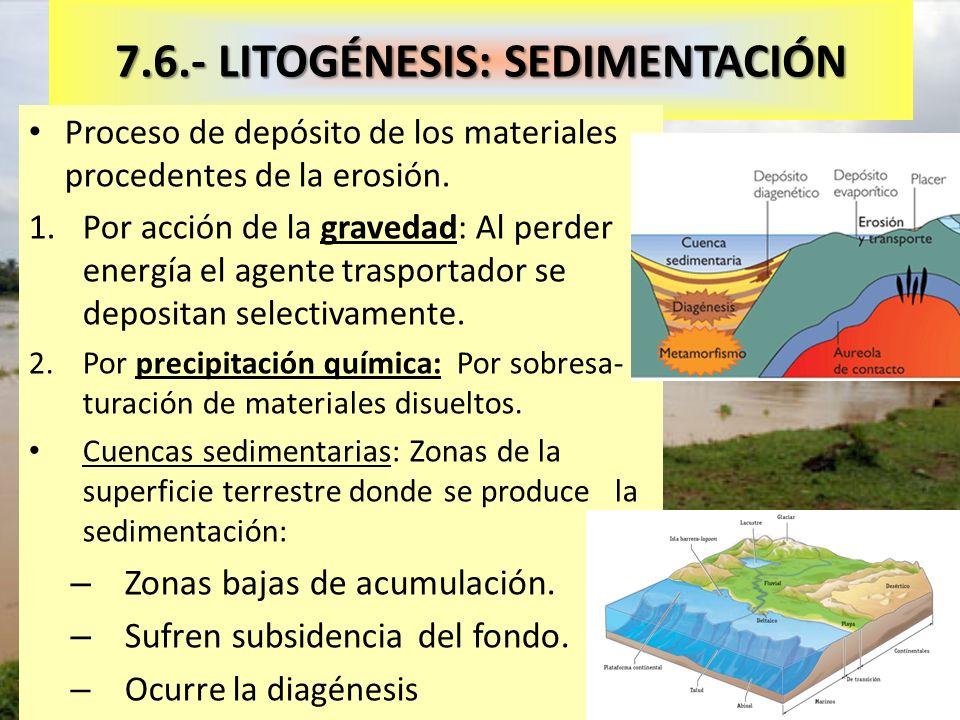 Sedimentación provocada por deforestación 7.6.- LITOGÉNESIS: SEDIMENTACIÓN Proceso de depósito de los materiales procedentes de la erosión. 1.Por acci