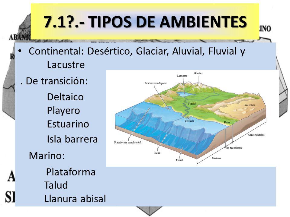 7.1?.- TIPOS DE AMBIENTES Continental: Desértico, Glaciar, Aluvial, Fluvial y Lacustre. De transición: Deltaico Playero Estuarino Isla barrera Marino: