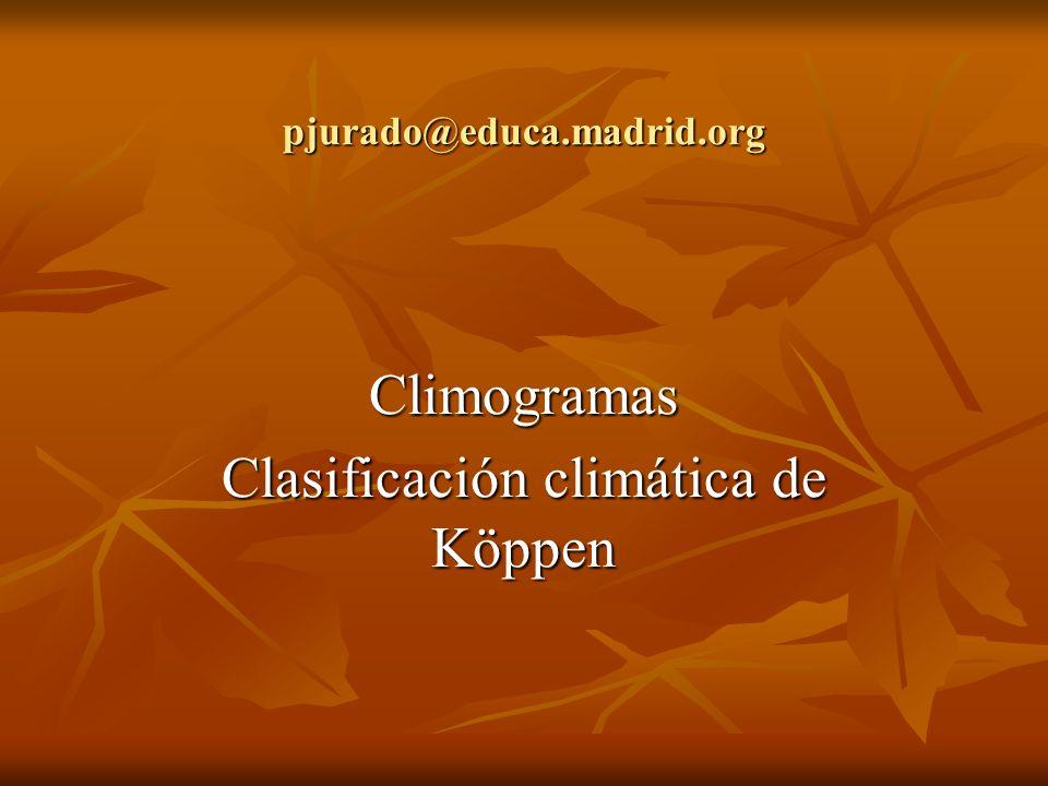 pjurado@educa.madrid.org Climogramas Clasificación climática de Köppen