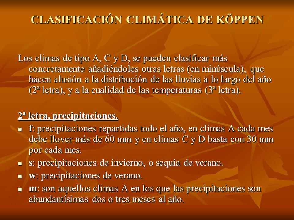 CLASIFICACIÓN CLIMÁTICA DE KÖPPEN Los climas de tipo A, C y D, se pueden clasificar más concretamente añadiéndoles otras letras (en minúscula), que ha