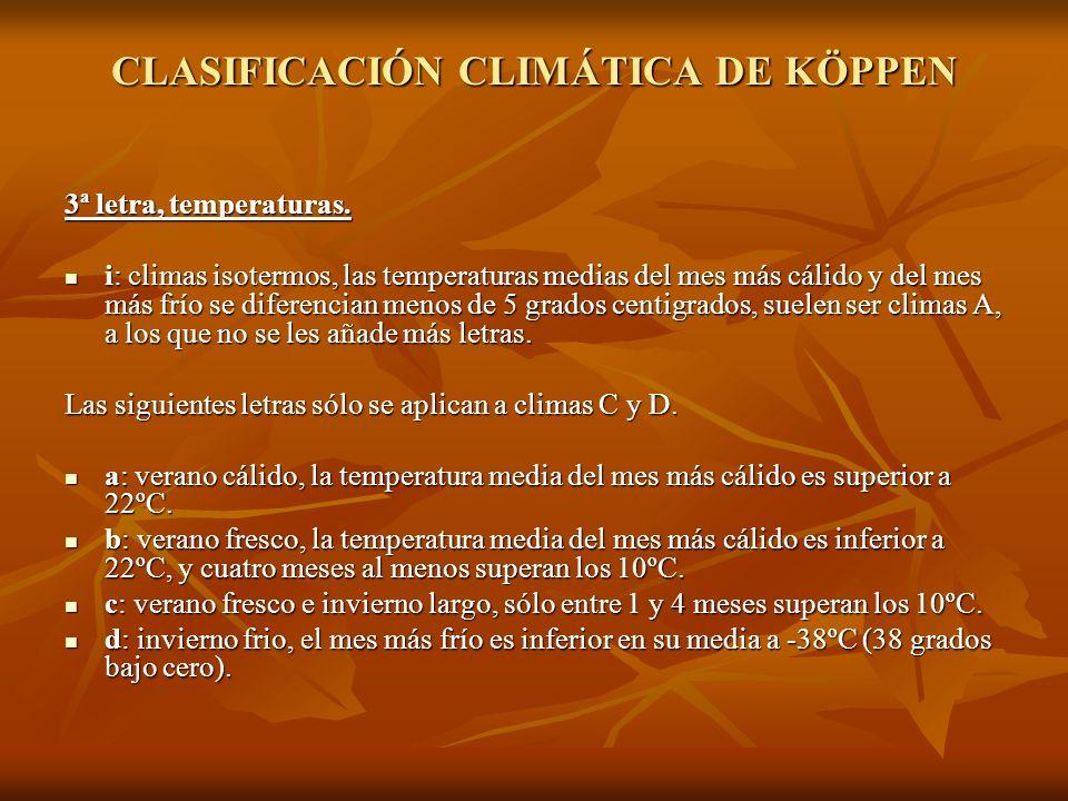 CLASIFICACIÓN CLIMÁTICA DE KÖPPEN 3ª letra, temperaturas. i: climas isotermos, las temperaturas medias del mes más cálido y del mes más frío se difere